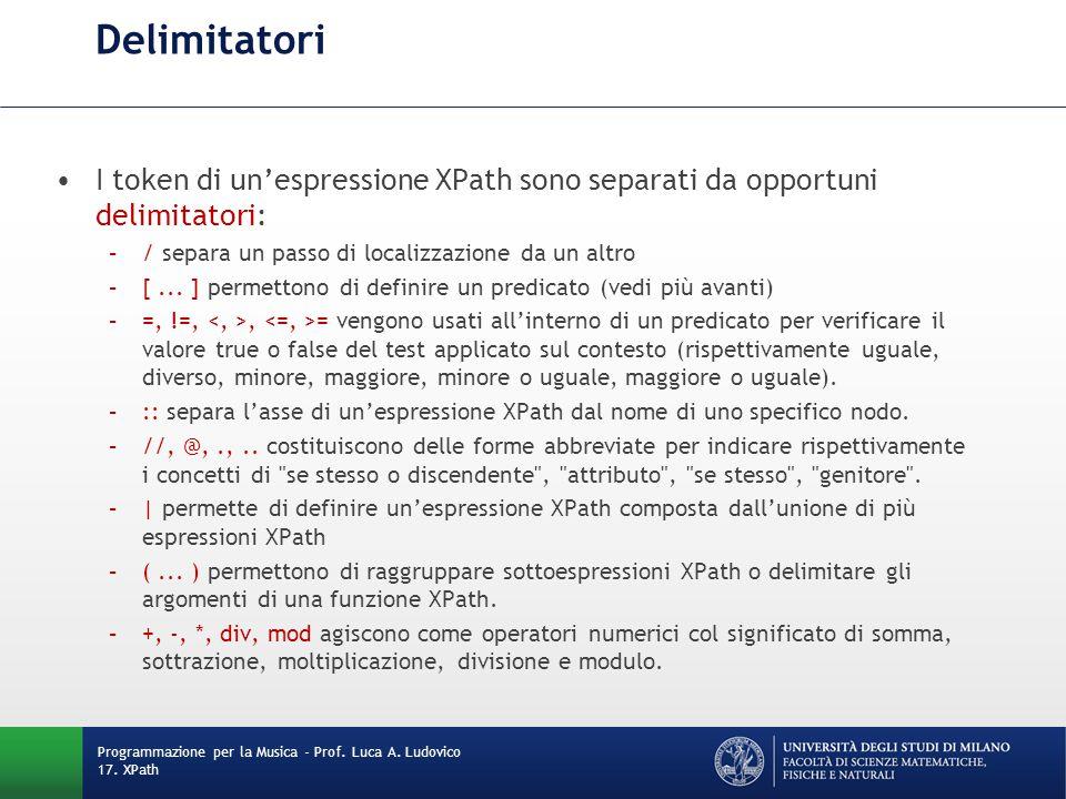 Delimitatori I token di un'espressione XPath sono separati da opportuni delimitatori: –/ separa un passo di localizzazione da un altro –[... ] permett