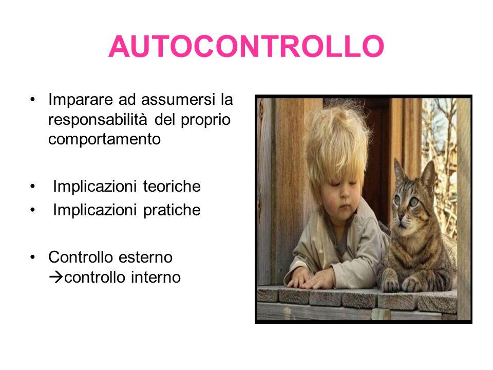 AUTOCONTROLLO Imparare ad assumersi la responsabilità del proprio comportamento Implicazioni teoriche Implicazioni pratiche Controllo esterno  contro