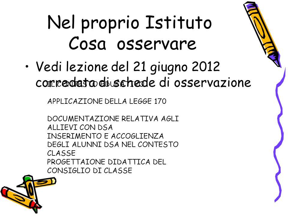 Nel proprio Istituto Cosa osservare Vedi lezione del 21 giugno 2012 corredata di schede di osservazione IL CONTESTO EDUCATIVO APPLICAZIONE DELLA LEGGE