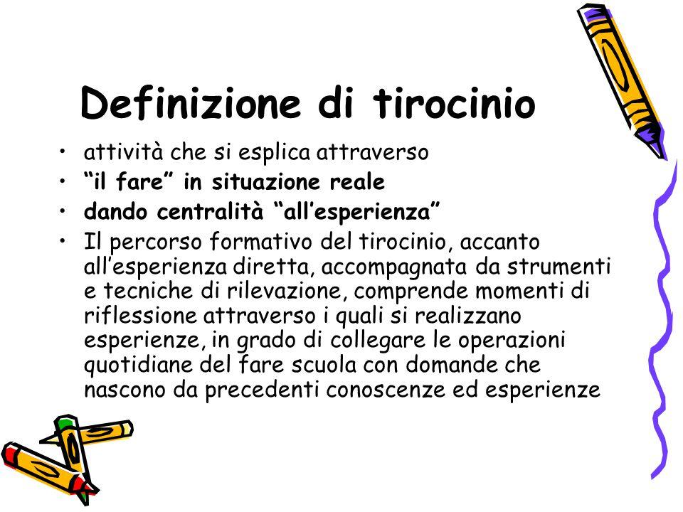 """Definizione di tirocinio attività che si esplica attraverso """"il fare"""" in situazione reale dando centralità """"all'esperienza"""" Il percorso formativo del"""