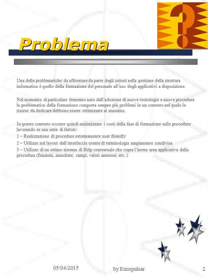 05/04/2015 by Europulsar2 Problema Una delle problematiche da affrontare da parte degli istituti nella gestione della struttura informatica è quello della formazione del personale all'uso degli applicativi a disposizione.
