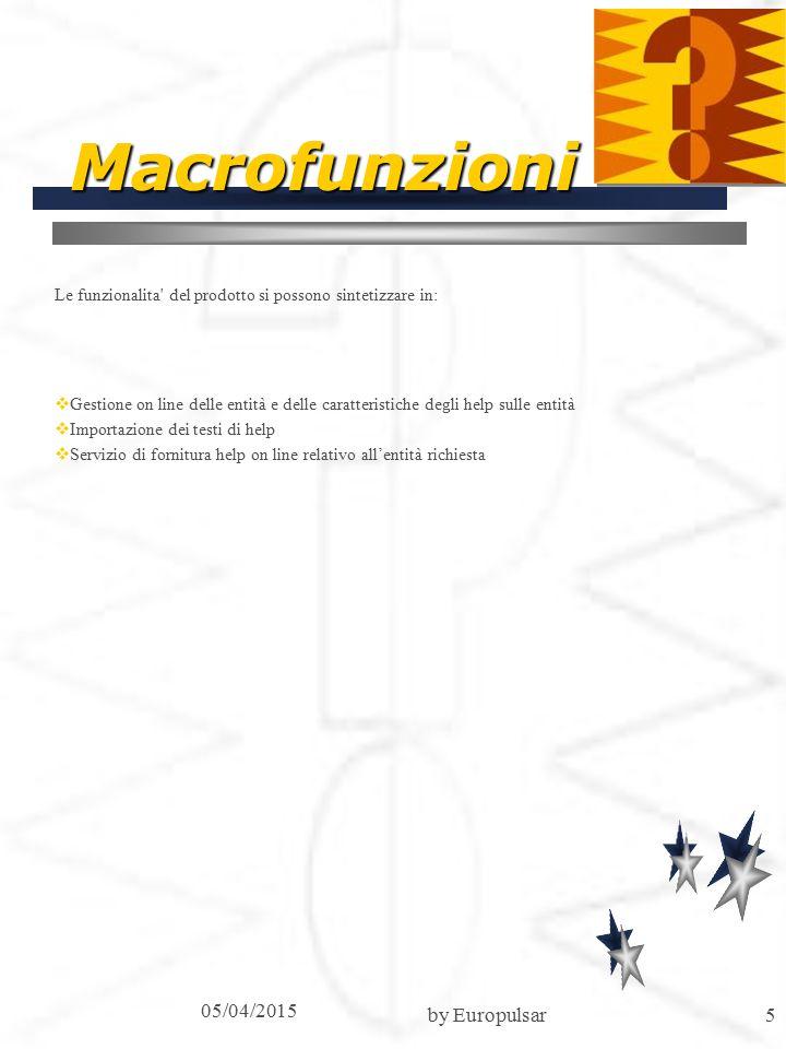 05/04/2015 by Europulsar5 Macrofunzioni Le funzionalita del prodotto si possono sintetizzare in:  Gestione on line delle entità e delle caratteristiche degli help sulle entità  Importazione dei testi di help  Servizio di fornitura help on line relativo all'entità richiesta