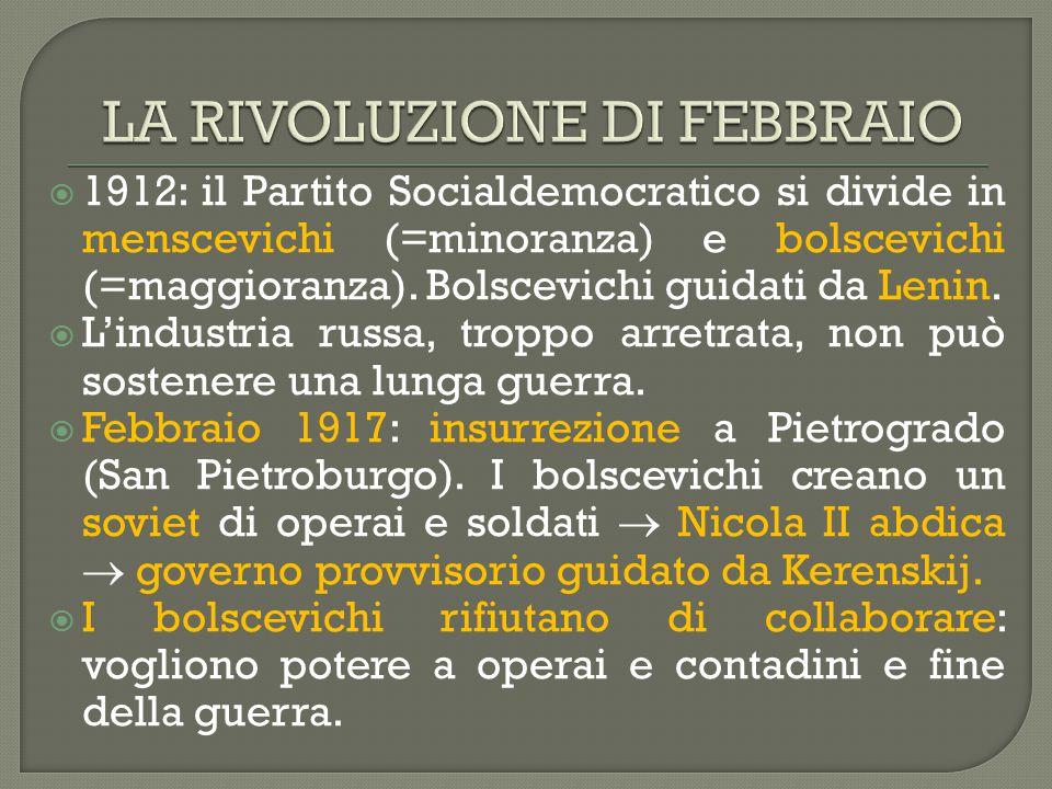  1912: il Partito Socialdemocratico si divide in menscevichi (=minoranza) e bolscevichi (=maggioranza). Bolscevichi guidati da Lenin.  L'industria r