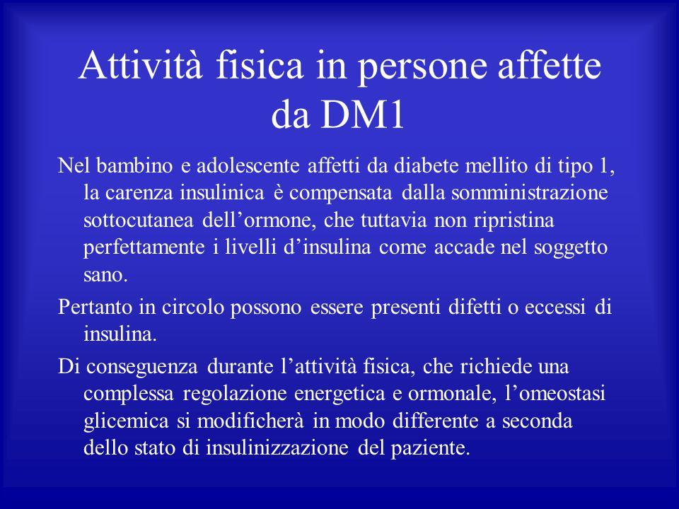 Attività fisica in persone affette da DM1 Nel bambino e adolescente affetti da diabete mellito di tipo 1, la carenza insulinica è compensata dalla som