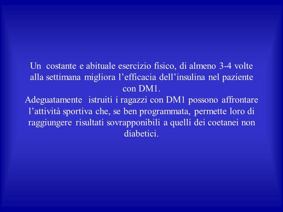 Un costante e abituale esercizio fisico, di almeno 3-4 volte alla settimana migliora l'efficacia dell'insulina nel paziente con DM1. Adeguatamente ist