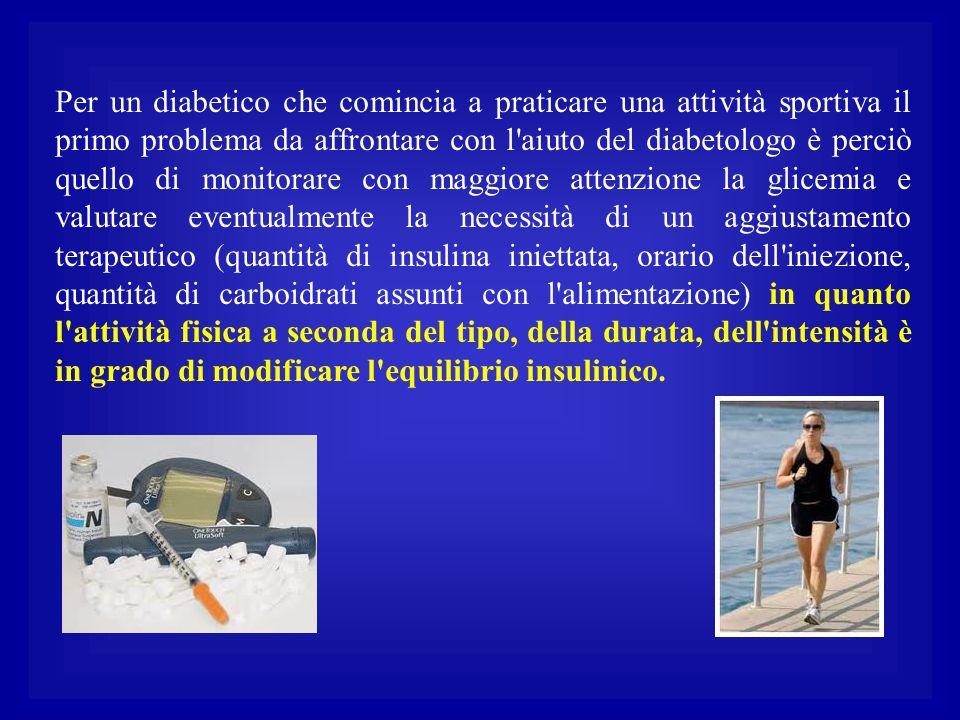 Per un diabetico che comincia a praticare una attività sportiva il primo problema da affrontare con l'aiuto del diabetologo è perciò quello di monitor