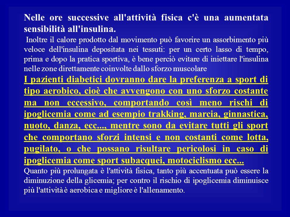 Nelle ore successive all'attività fisica c'è una aumentata sensibilità all'insulina. Inoltre il calore prodotto dal movimento può favorire un assorbim