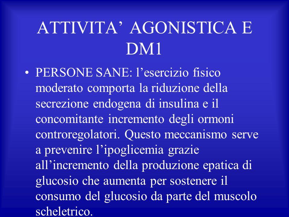 ATTIVITA' AGONISTICA E DM1 PERSONE SANE: l'esercizio fisico moderato comporta la riduzione della secrezione endogena di insulina e il concomitante inc