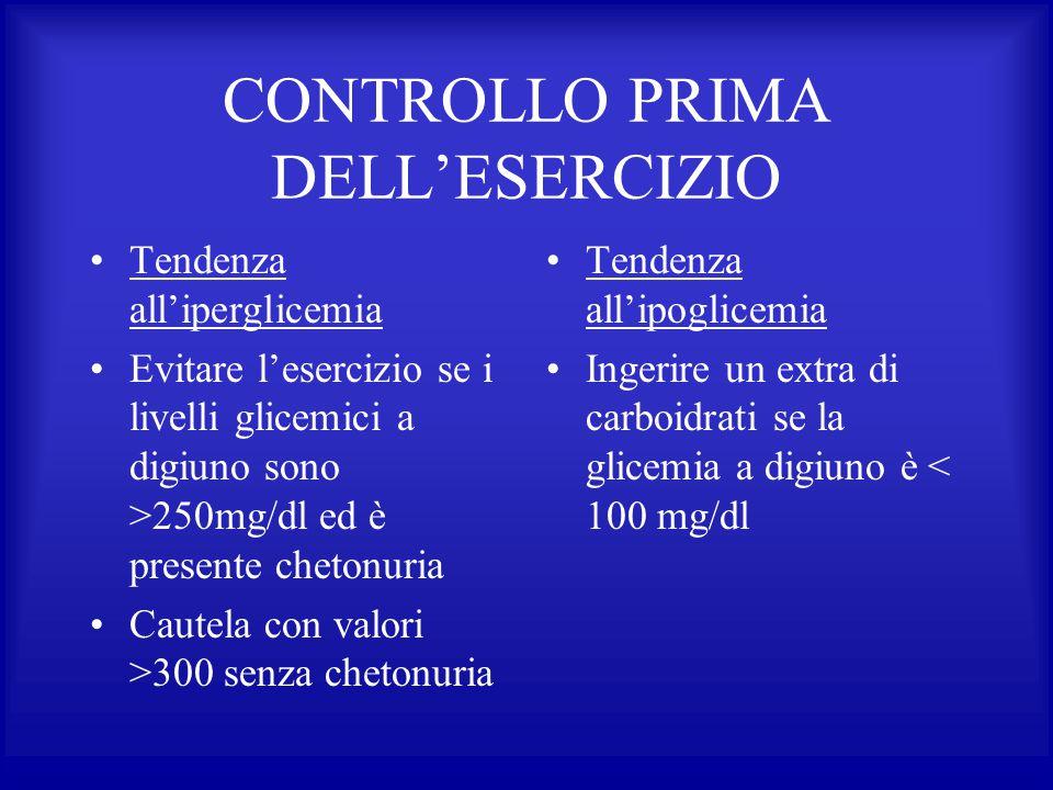CONTROLLO PRIMA DELL'ESERCIZIO Tendenza all'iperglicemia Evitare l'esercizio se i livelli glicemici a digiuno sono >250mg/dl ed è presente chetonuria