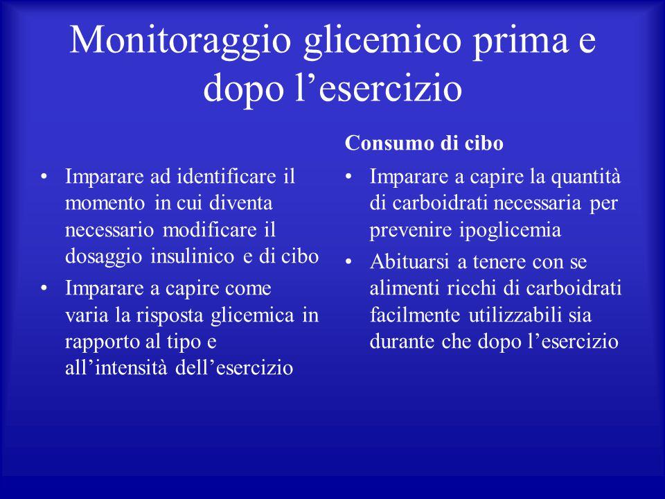 Monitoraggio glicemico prima e dopo l'esercizio Imparare ad identificare il momento in cui diventa necessario modificare il dosaggio insulinico e di c
