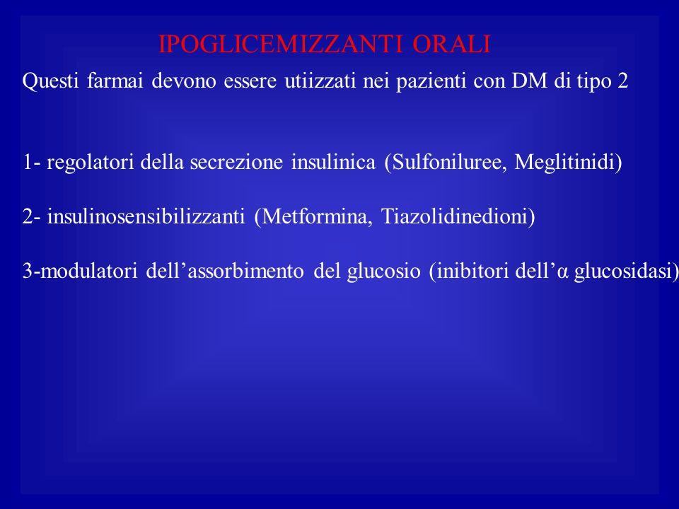 IPOGLICEMIZZANTI ORALI Questi farmai devono essere utiizzati nei pazienti con DM di tipo 2 1- regolatori della secrezione insulinica (Sulfoniluree, Me
