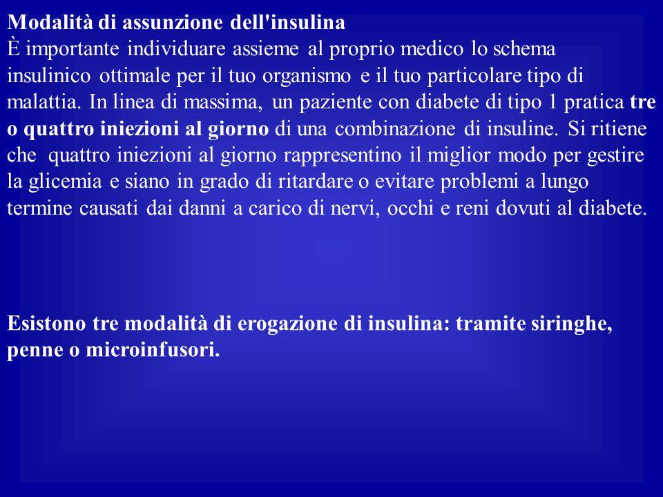 Modalità di assunzione dell'insulina È importante individuare assieme al proprio medico lo schema insulinico ottimale per il tuo organismo e il tuo pa