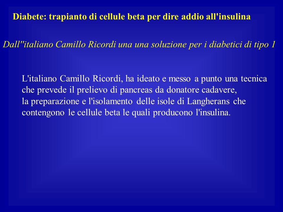 Diabete: trapianto di cellule beta per dire addio all'insulina Dall''italiano Camillo Ricordi una una soluzione per i diabetici di tipo 1 L'italiano C