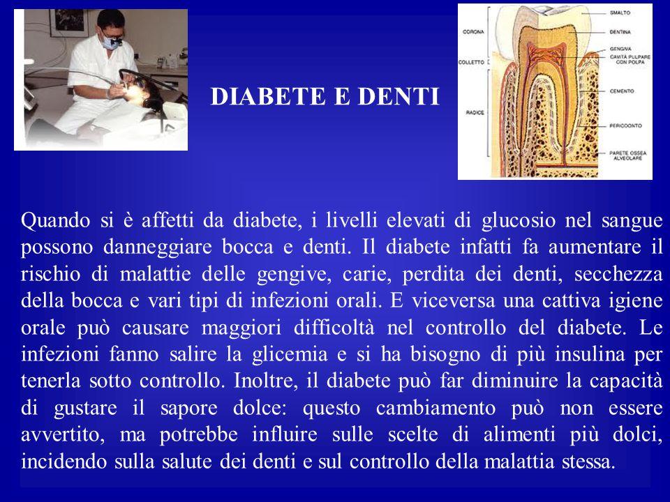 Quando si è affetti da diabete, i livelli elevati di glucosio nel sangue possono danneggiare bocca e denti. Il diabete infatti fa aumentare il rischio