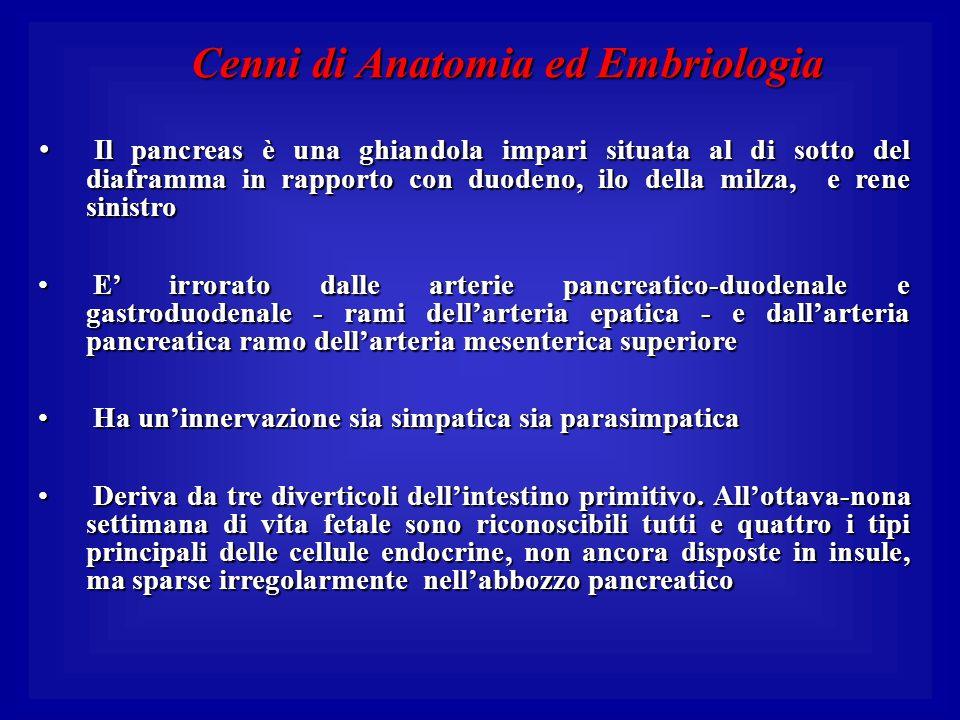 Cenni di Anatomia ed Embriologia Il pancreas è una ghiandola impari situata al di sotto del diaframma in rapporto con duodeno, ilo della milza, e rene
