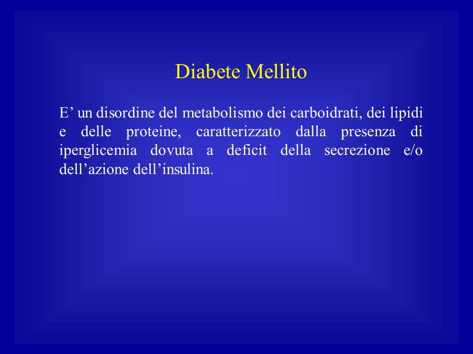 Diabete Mellito E' un disordine del metabolismo dei carboidrati, dei lipidi e delle proteine, caratterizzato dalla presenza di iperglicemia dovuta a d