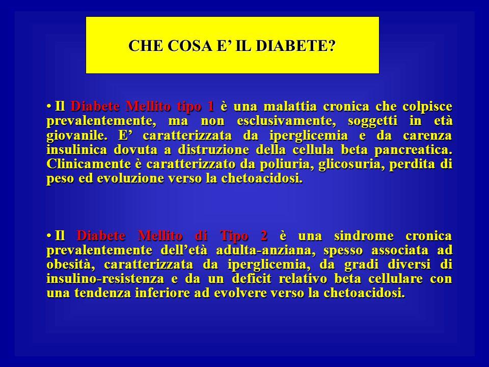 CHE COSA E' IL DIABETE? Il Diabete Mellito tipo 1 è una malattia cronica che colpisce prevalentemente, ma non esclusivamente, soggetti in età giovanil