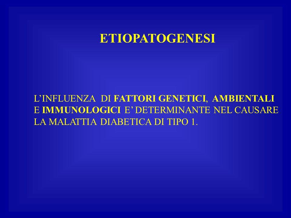 ETIOPATOGENESI L'INFLUENZA DI FATTORI GENETICI, AMBIENTALI E IMMUNOLOGICI E' DETERMINANTE NEL CAUSARE LA MALATTIA DIABETICA DI TIPO 1.