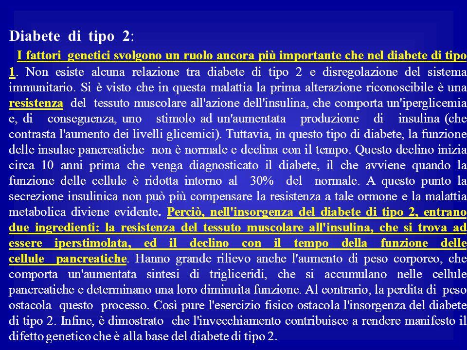 Diabete di tipo 2: I fattori genetici svolgono un ruolo ancora più importante che nel diabete di tipo 1. Non esiste alcuna relazione tra diabete di ti