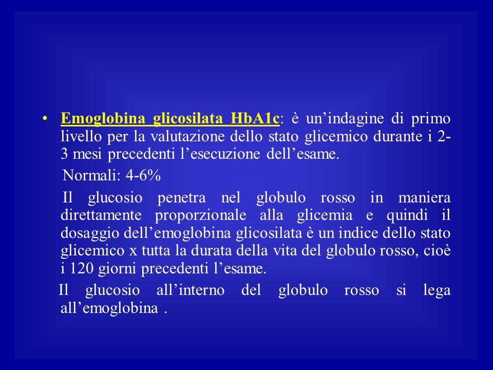 Emoglobina glicosilata HbA1c: è un'indagine di primo livello per la valutazione dello stato glicemico durante i 2- 3 mesi precedenti l'esecuzione dell