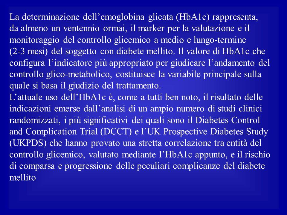 La determinazione dell'emoglobina glicata (HbA1c) rappresenta, da almeno un ventennio ormai, il marker per la valutazione e il monitoraggio del contro