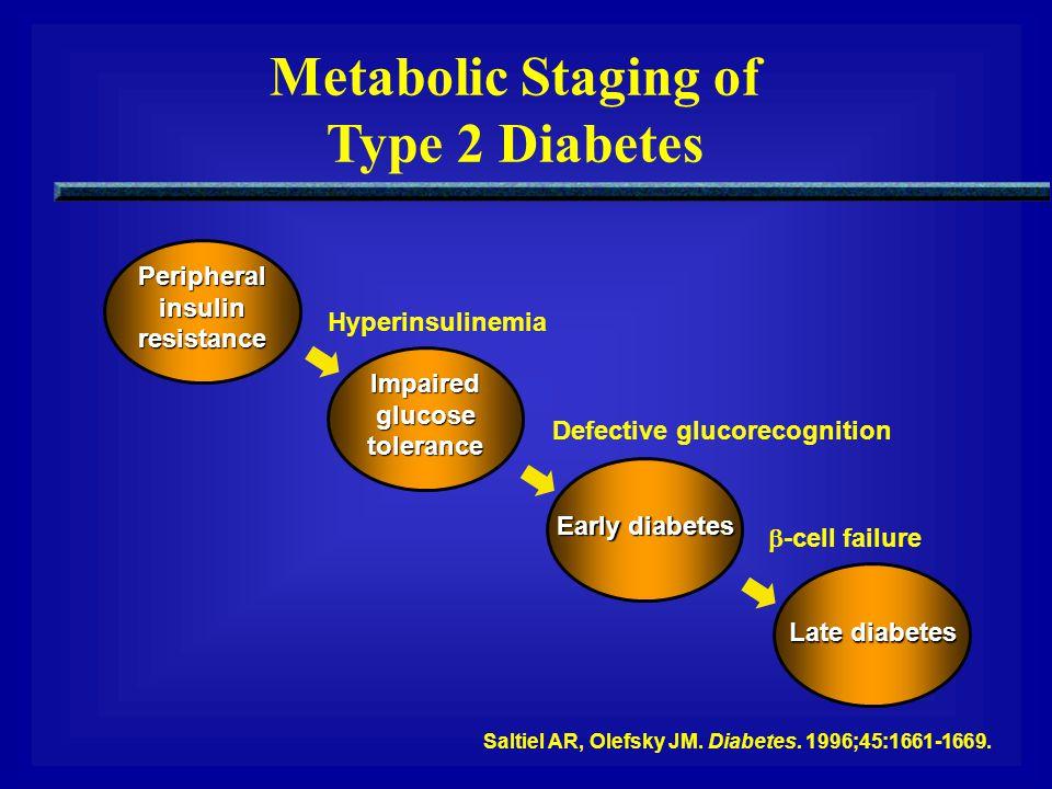 Peripheralinsulinresistance Impairedglucosetolerance Early diabetes Late diabetes Hyperinsulinemia Defective glucorecognition  -cell failure Saltiel
