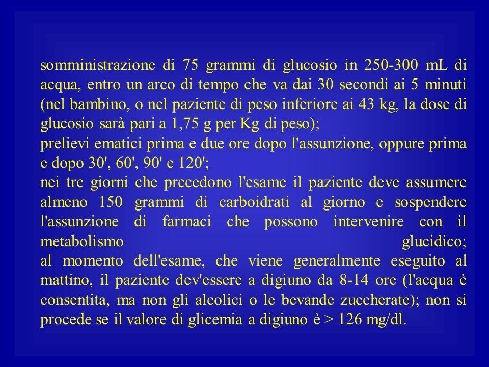 somministrazione di 75 grammi di glucosio in 250-300 mL di acqua, entro un arco di tempo che va dai 30 secondi ai 5 minuti (nel bambino, o nel pazient