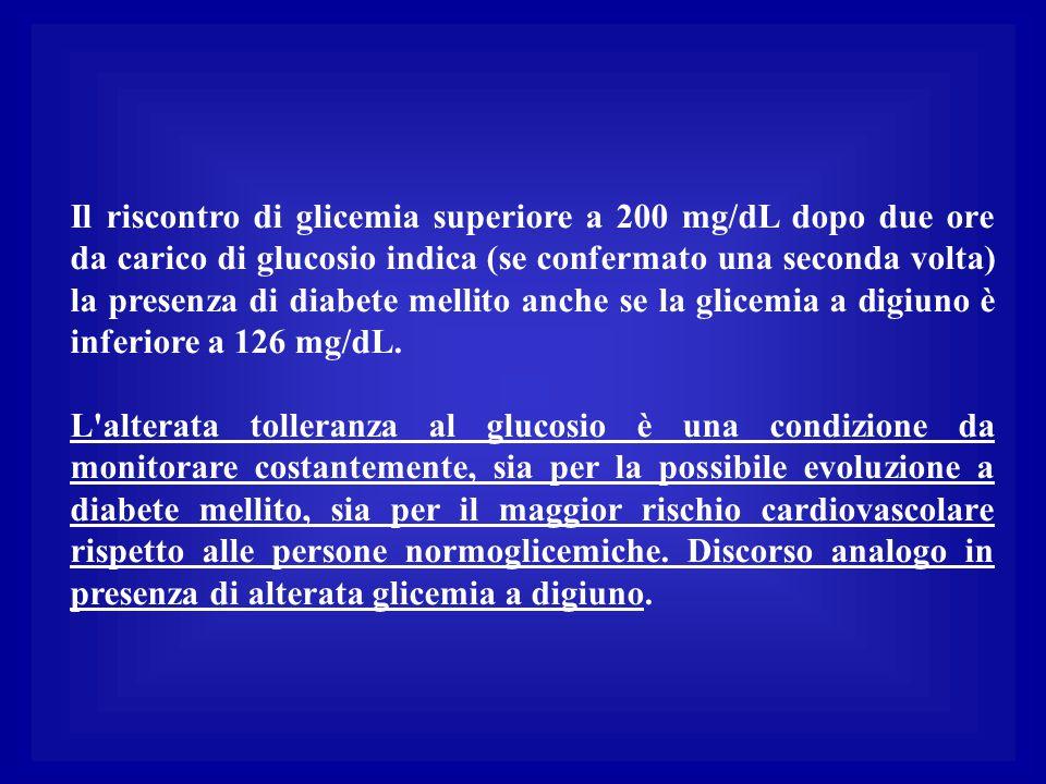 Il riscontro di glicemia superiore a 200 mg/dL dopo due ore da carico di glucosio indica (se confermato una seconda volta) la presenza di diabete mell