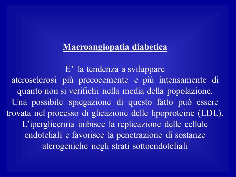 Macroangiopatia diabetica E' la tendenza a sviluppare aterosclerosi più precocemente e più intensamente di quanto non si verifichi nella media della p