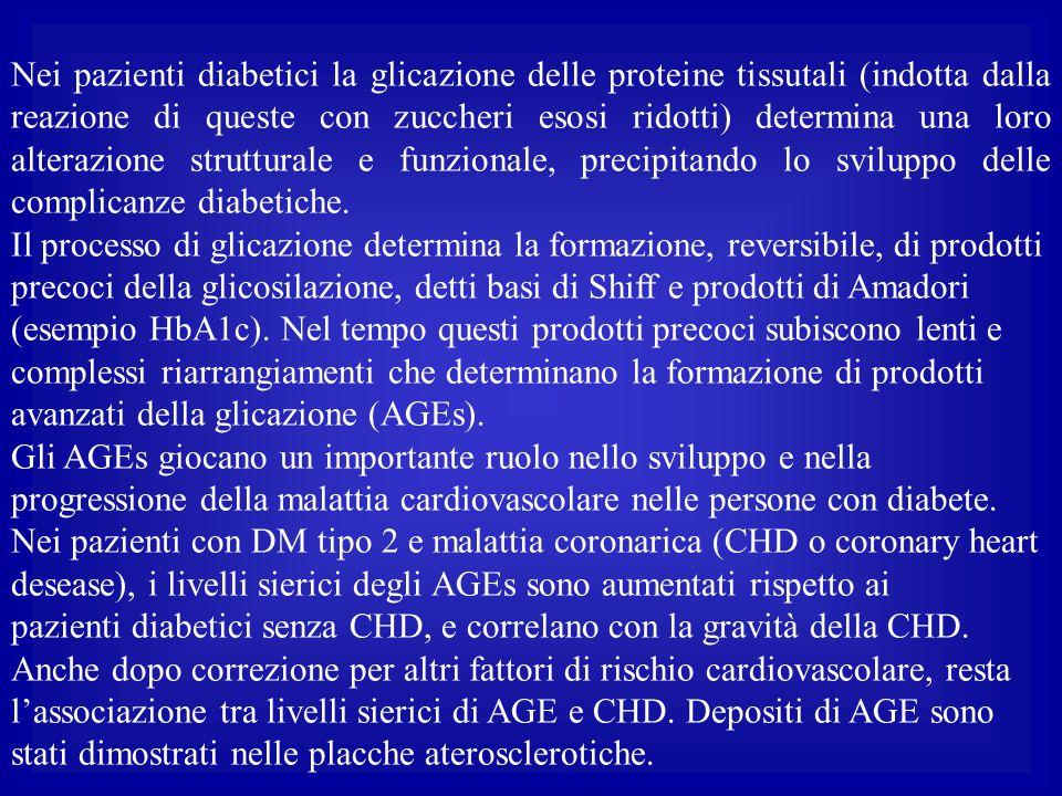 Nei pazienti diabetici la glicazione delle proteine tissutali (indotta dalla reazione di queste con zuccheri esosi ridotti) determina una loro alteraz