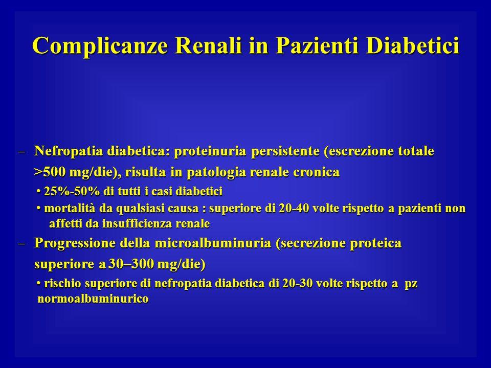 Complicanze Renali in Pazienti Diabetici – Nefropatia diabetica: proteinuria persistente (escrezione totale >500 mg/die), risulta in patologia renale