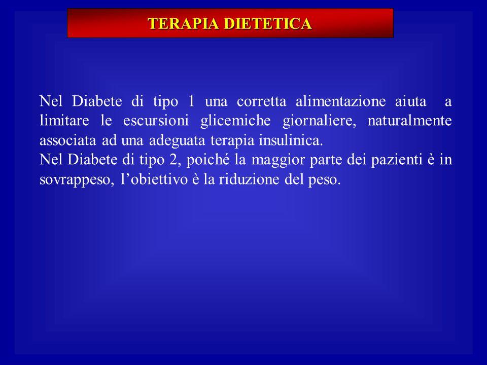 TERAPIA DIETETICA Nel Diabete di tipo 1 una corretta alimentazione aiuta a limitare le escursioni glicemiche giornaliere, naturalmente associata ad un