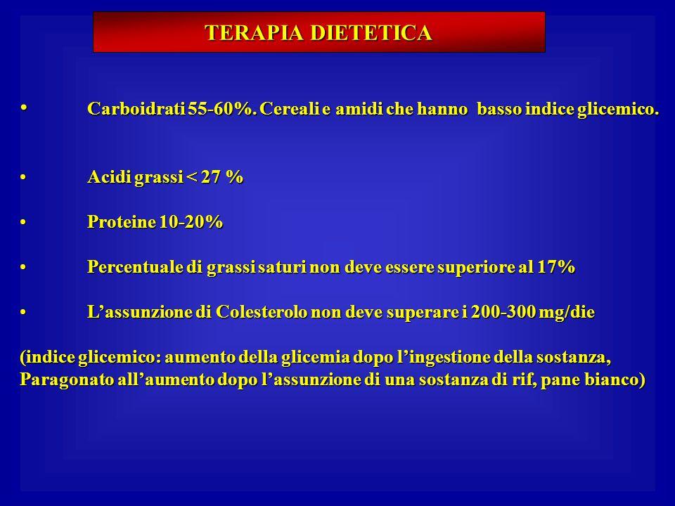 TERAPIA DIETETICA Carboidrati 55-60%. Cereali e amidi che hanno basso indice glicemico. Carboidrati 55-60%. Cereali e amidi che hanno basso indice gli