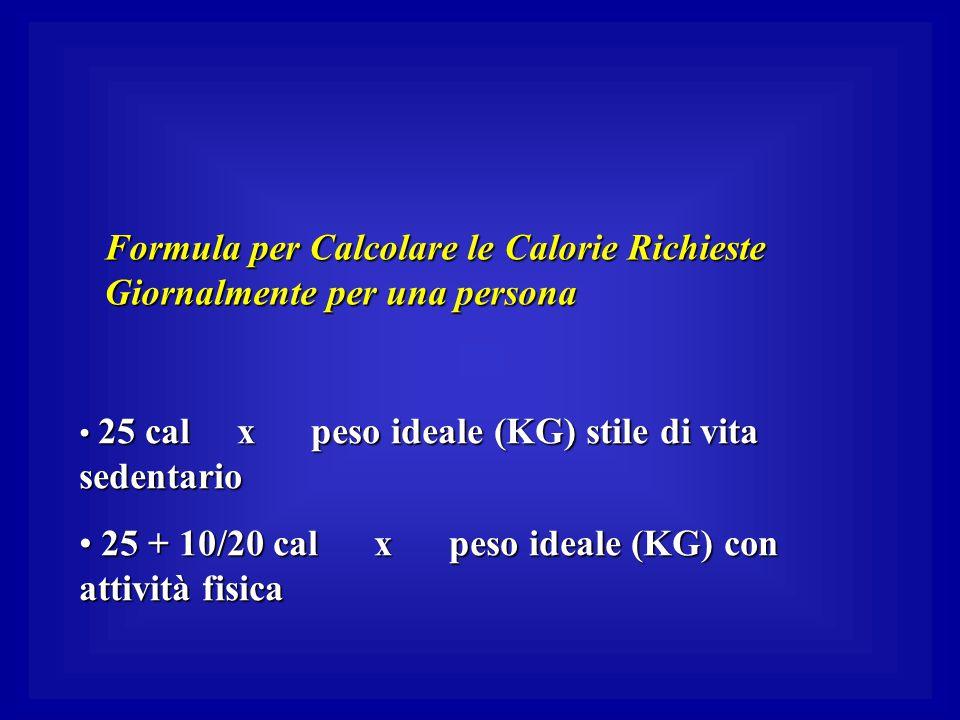 Formula per Calcolare le Calorie Richieste Giornalmente per una persona 25 cal x peso ideale (KG) stile di vita sedentario 25 cal x peso ideale (KG) s