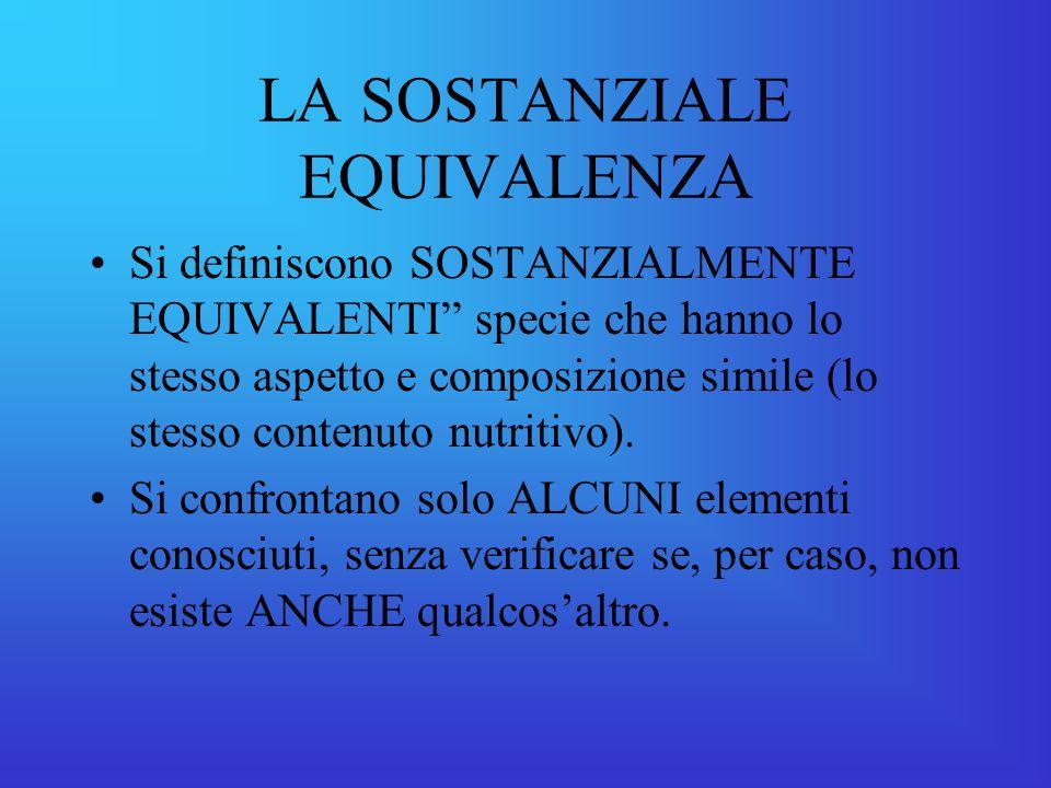 LA SOSTANZIALE EQUIVALENZA Si definiscono SOSTANZIALMENTE EQUIVALENTI specie che hanno lo stesso aspetto e composizione simile (lo stesso contenuto nutritivo).
