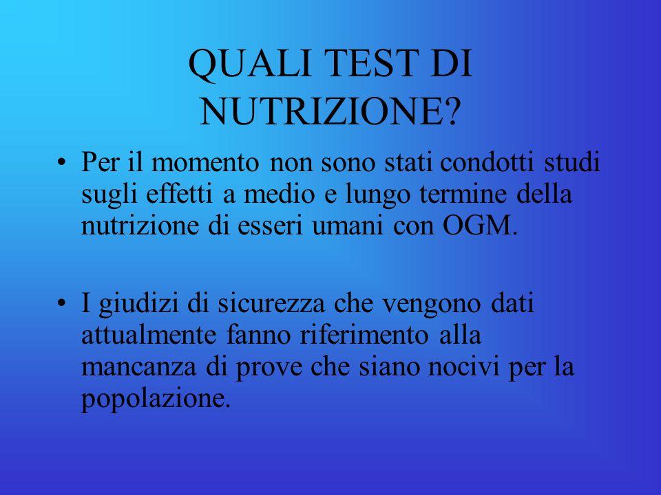 QUALI TEST DI NUTRIZIONE.