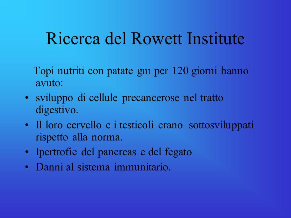 Ricerca del Rowett Institute Topi nutriti con patate gm per 120 giorni hanno avuto: sviluppo di cellule precancerose nel tratto digestivo.