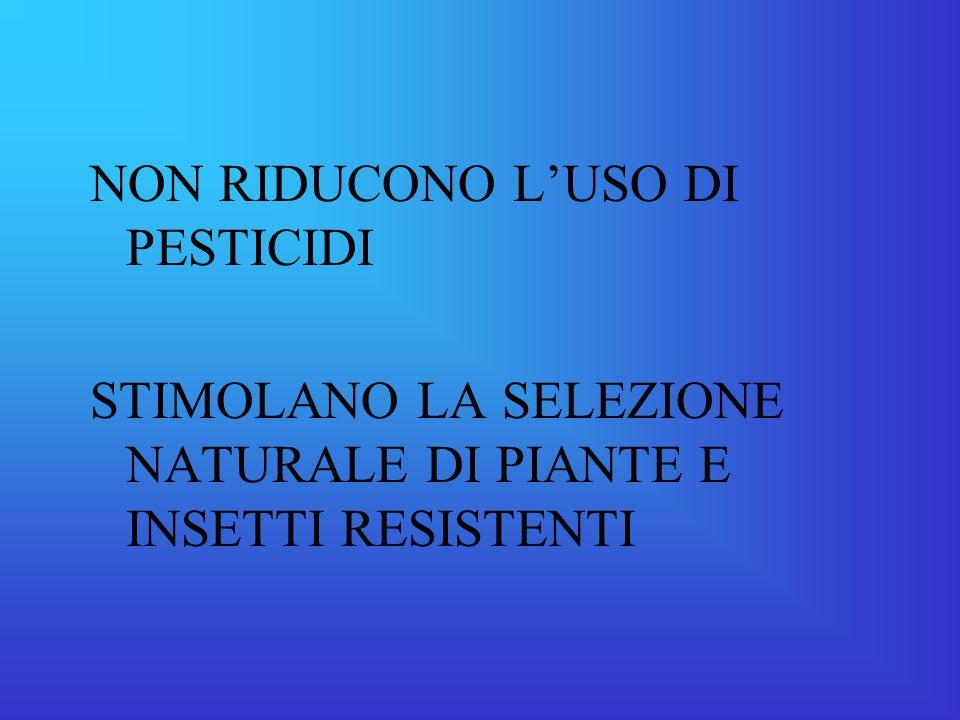 NON RIDUCONO L'USO DI PESTICIDI STIMOLANO LA SELEZIONE NATURALE DI PIANTE E INSETTI RESISTENTI