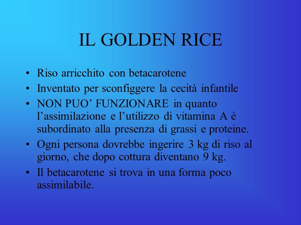 IL GOLDEN RICE Riso arricchito con betacarotene Inventato per sconfiggere la cecità infantile NON PUO' FUNZIONARE in quanto l'assimilazione e l'utilizzo di vitamina A è subordinato alla presenza di grassi e proteine.