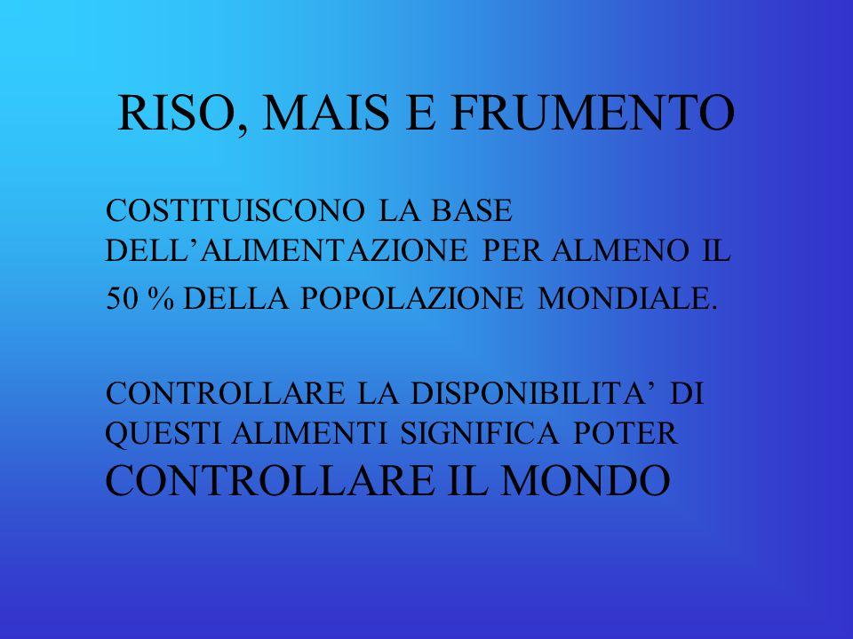 RISO, MAIS E FRUMENTO COSTITUISCONO LA BASE DELL'ALIMENTAZIONE PER ALMENO IL 50 % DELLA POPOLAZIONE MONDIALE.