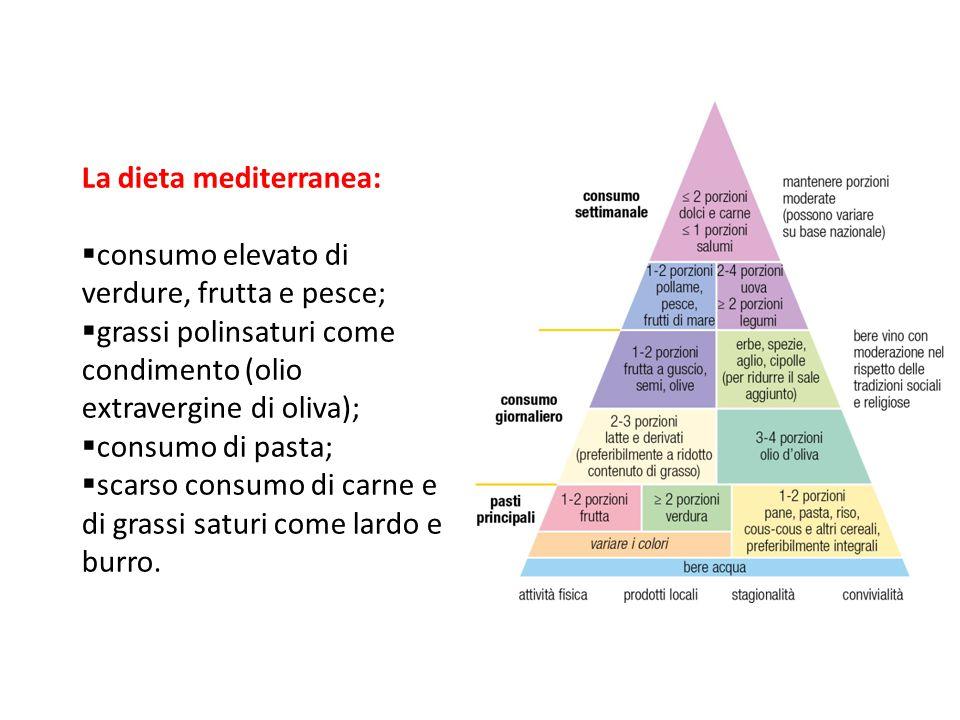 La dieta mediterranea:  consumo elevato di verdure, frutta e pesce;  grassi polinsaturi come condimento (olio extravergine di oliva);  consumo di p