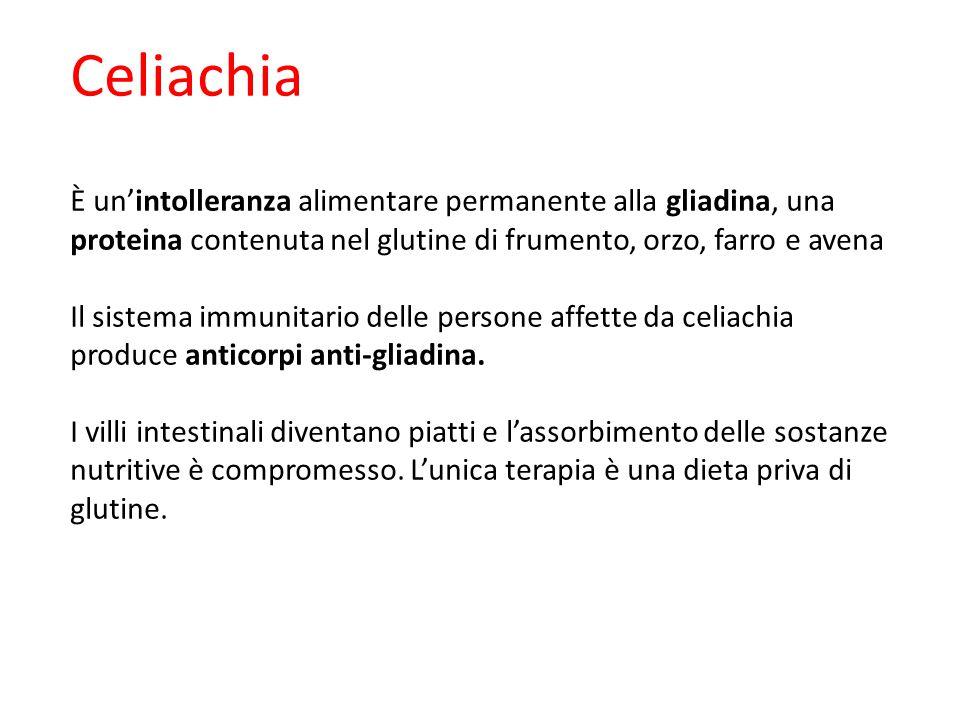 Celiachia È un'intolleranza alimentare permanente alla gliadina, una proteina contenuta nel glutine di frumento, orzo, farro e avena Il sistema immuni