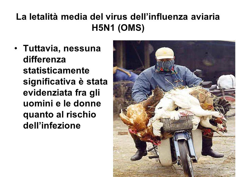 La letalità media del virus dell'influenza aviaria H5N1 (OMS) Tuttavia, nessuna differenza statisticamente significativa è stata evidenziata fra gli uomini e le donne quanto al rischio dell'infezione