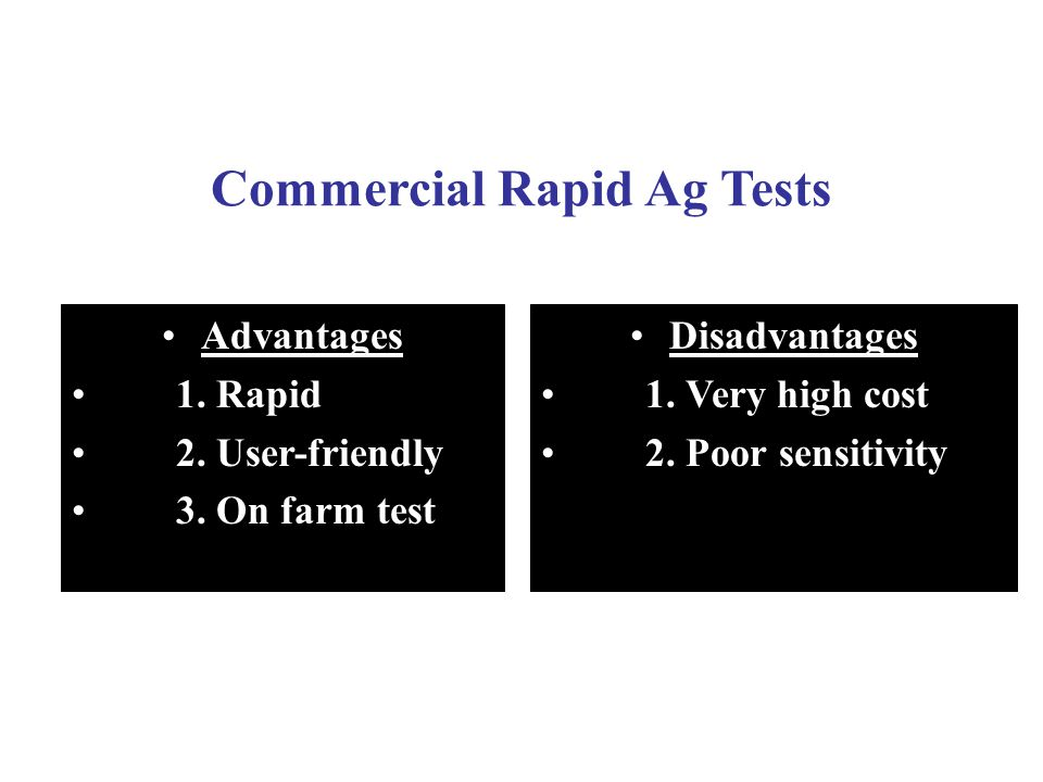 Commercial Rapid Ag Tests Advantages 1.Rapid 2. User-friendly 3.