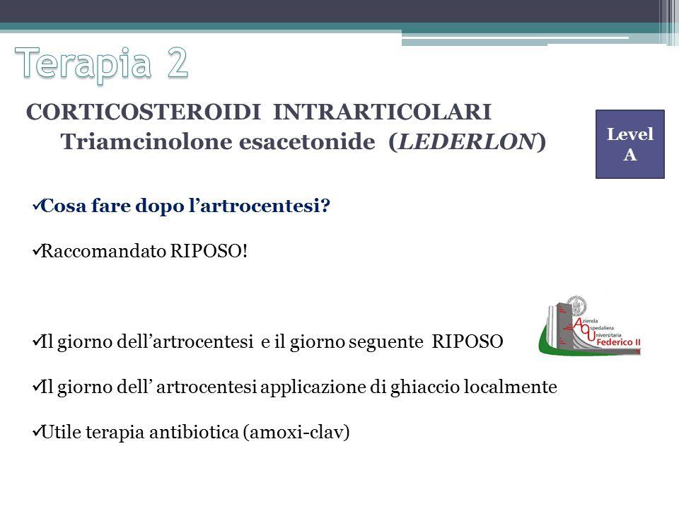 CORTICOSTEROIDI INTRARTICOLARI Triamcinolone esacetonide (LEDERLON) Cosa fare dopo l'artrocentesi.