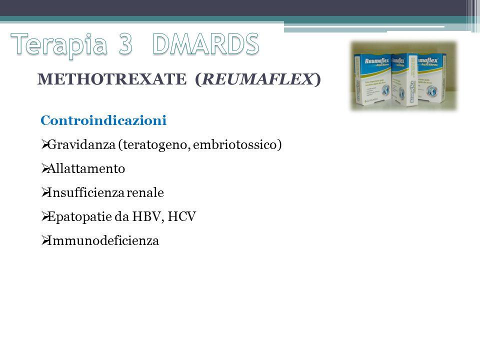 METHOTREXATE (REUMAFLEX) Controindicazioni  Gravidanza (teratogeno, embriotossico)  Allattamento  Insufficienza renale  Epatopatie da HBV, HCV  Immunodeficienza