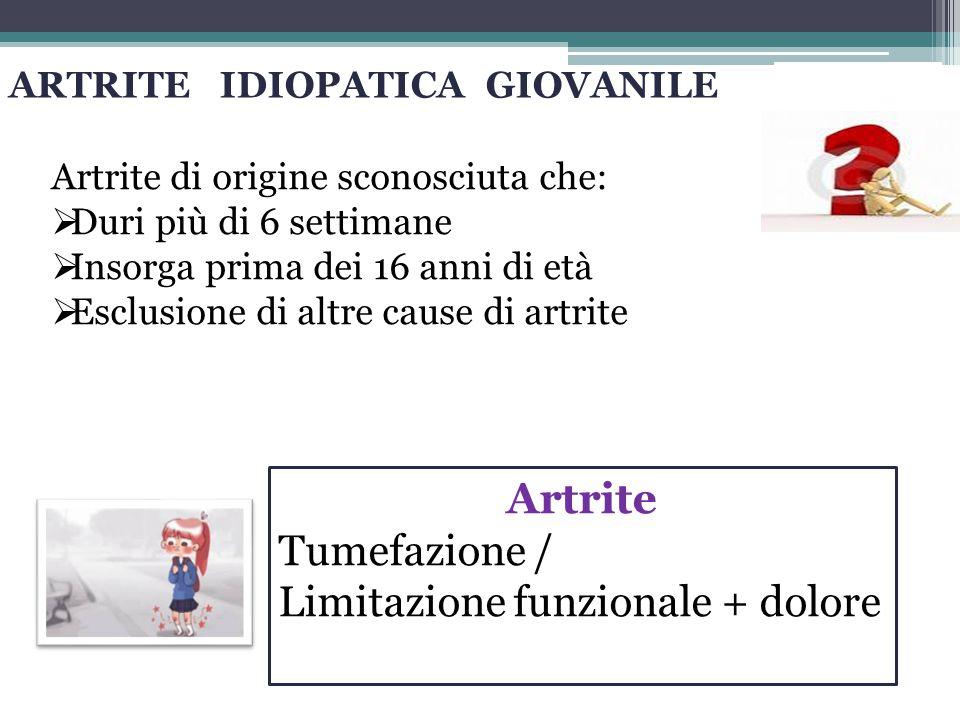 ARTRITE IDIOPATICA GIOVANILE Artrite di origine sconosciuta che:  Duri più di 6 settimane  Insorga prima dei 16 anni di età  Esclusione di altre cause di artrite Artrite Tumefazione / Limitazione funzionale + dolore