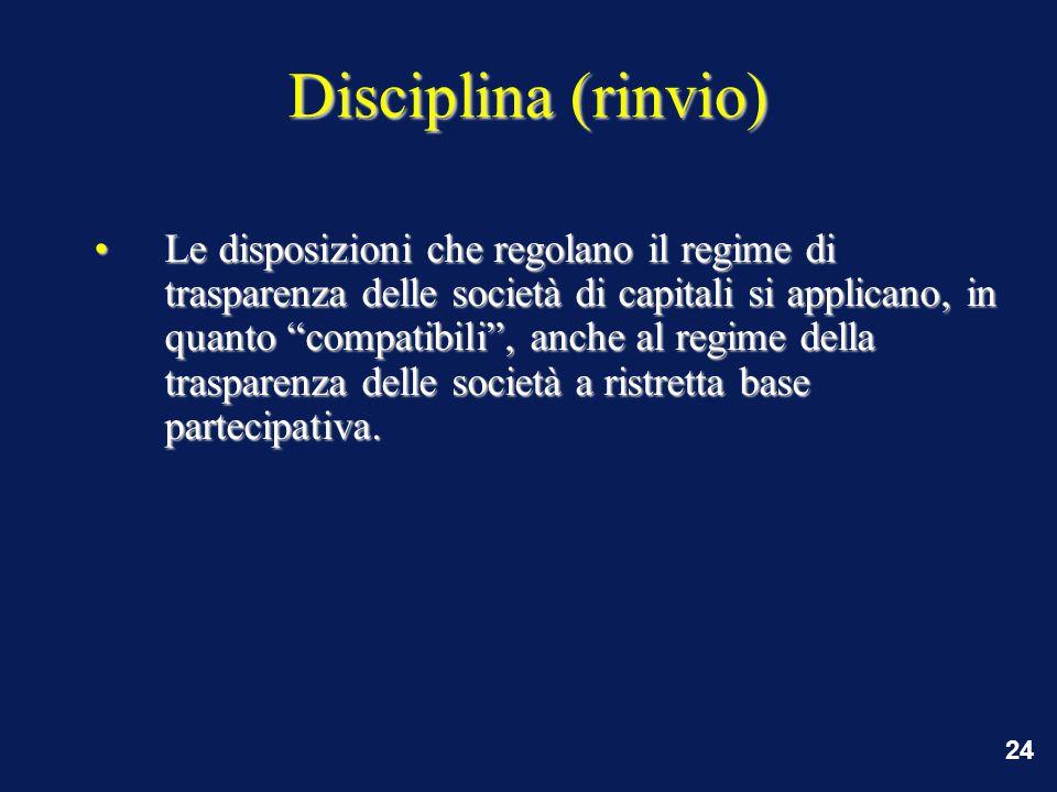 24 Disciplina (rinvio) Le disposizioni che regolano il regime di trasparenza delle società di capitali si applicano, in quanto compatibili , anche al regime della trasparenza delle società a ristretta base partecipativa.Le disposizioni che regolano il regime di trasparenza delle società di capitali si applicano, in quanto compatibili , anche al regime della trasparenza delle società a ristretta base partecipativa.