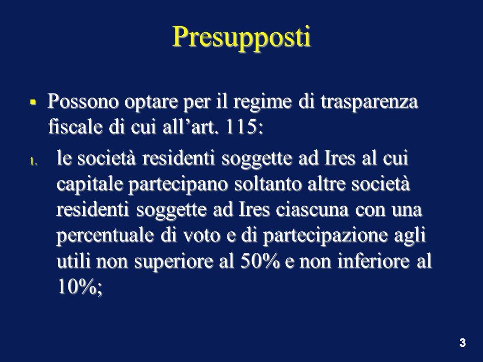 3 Presupposti  Possono optare per il regime di trasparenza fiscale di cui all'art.