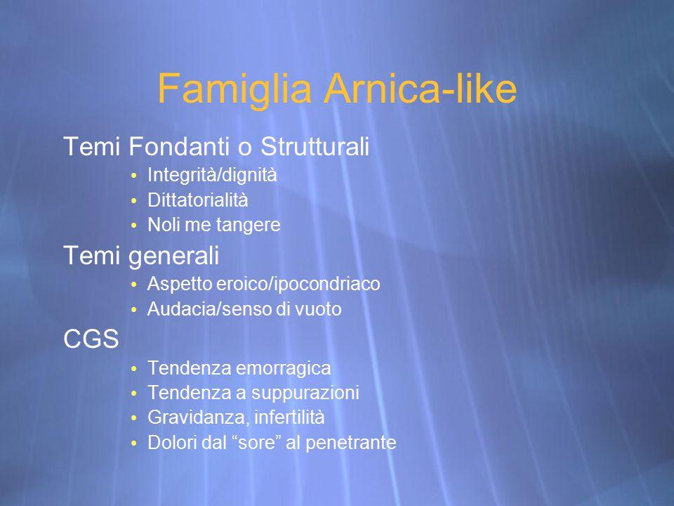 Famiglia Arnica-like Temi Fondanti o Strutturali Integrità/dignità Dittatorialità Noli me tangere Temi generali Aspetto eroico/ipocondriaco Audacia/se